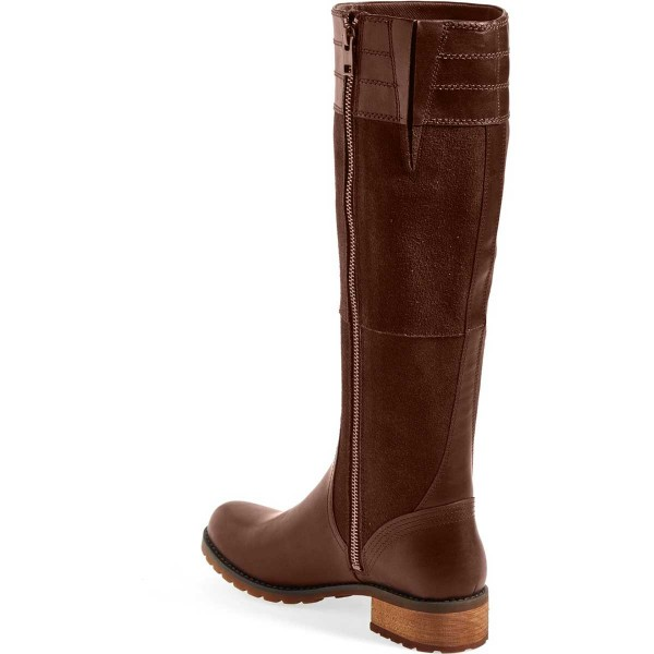Brown Riding Boots Side Zipper Round Toe Low Heel Knee Boots image 3