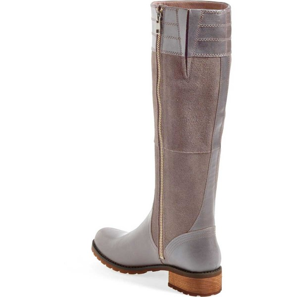 Grey Knee Boots Round Toe Comfortable Riding Boots by FSJ image 2
