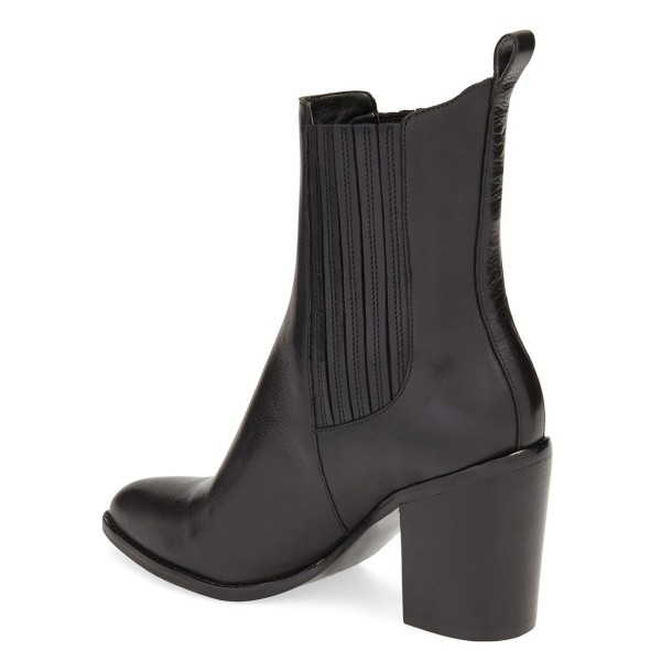 Black Block Heel Boots Pointy Toe Commuting Chelsea Boots image 2