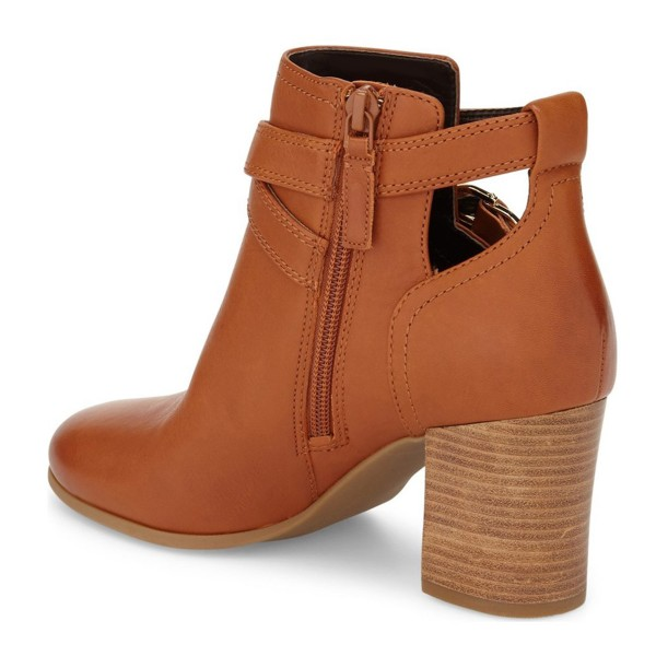 Women's Brown Straps Buckle Chunky Heels Ankle Boots image 3