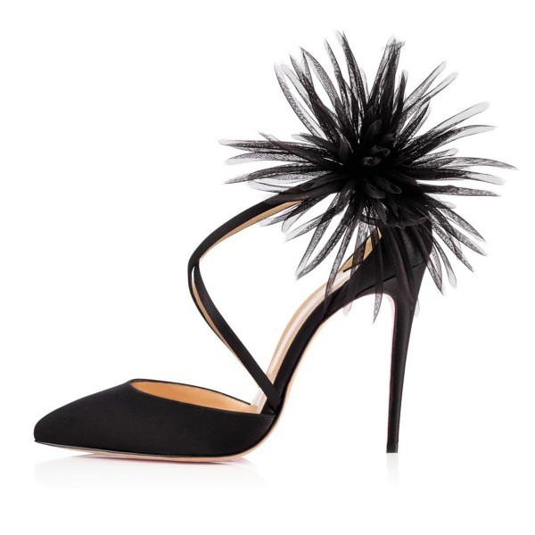 Black Evening Shoes Cross-over Strap Stiletto Heel Closed Toe Sandals image 2