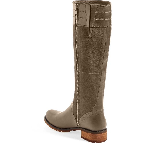 Green Riding Boots Side Zipper Round Toe Low Heel Knee Boots image 2