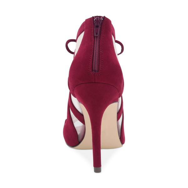 Burgundy Heels Mesh Peep Toe Suede Cut out Lace up Pumps image 4