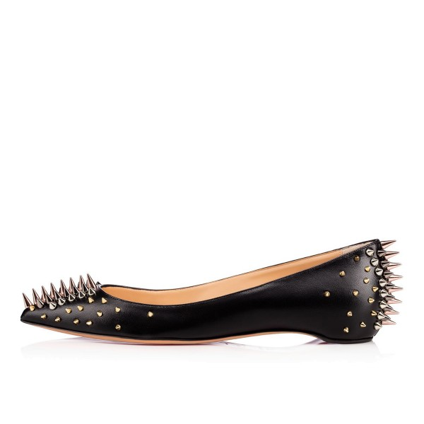 Black Rivets Pointy Toe Flats Comfortable Shoes image 4