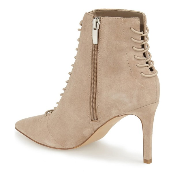 Beige Lace up Boots Pointy Toe Stiletto Heel Ankle Booties image 3