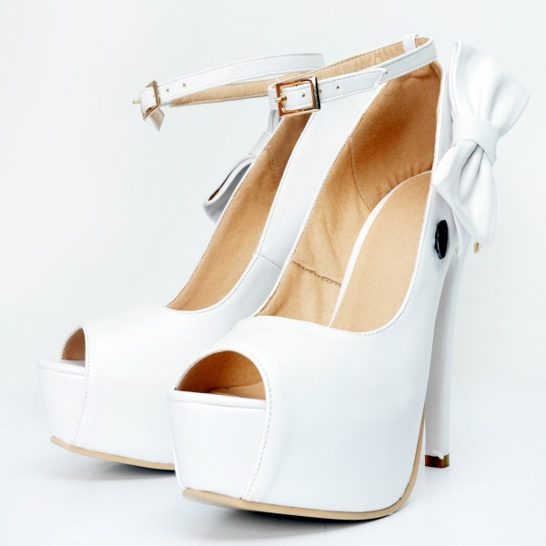 White Ankle Strap Heels Peep Toe Platform Pumps with Bow image 1