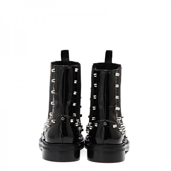 Black Wingtip Boots Patent Leather Round Toe Studs Chelsea Boots image 5