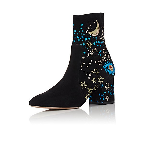 Black Chunky Heel Boots Suede Night Sky Ankle Boots image 1