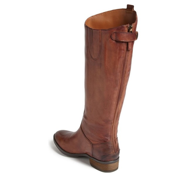 Tan Riding Boots Flat Vegan Leather Vintage Knee Boots US Size 3-15 image 2