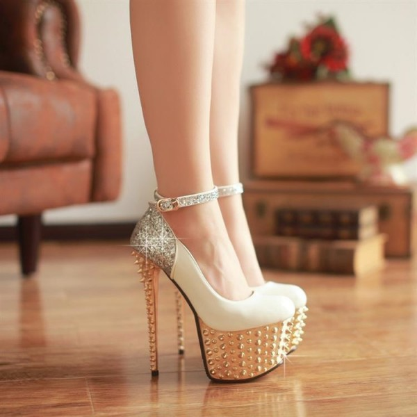 Ivory and Gold Stripper Heels Glitter Ankle Strap Platform Prom Shoes image 3