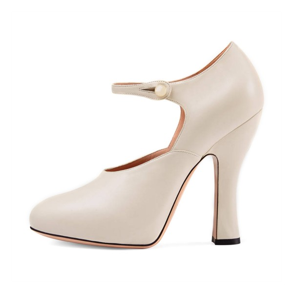 Women's White Mary Jane Pumps Round Toe Cone Heels Vintage Shoes image 1