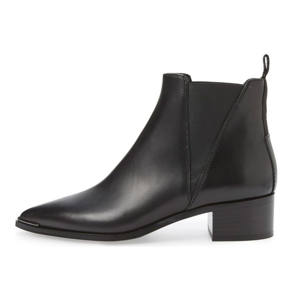 Black Chunky Heel Pointy Toe Slip-on Ankle Chelsea Boots for Work image 3