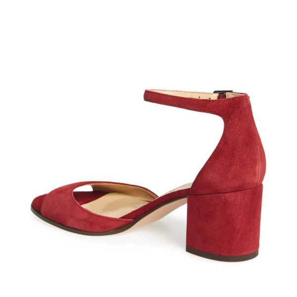 Women's Red Soft Suede Chunky Heel Sandals image 3