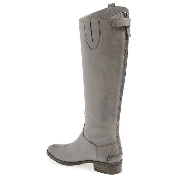 Grey Riding Boots Back Zipper Low Heel Fashion Knee Boots US Size 3-15 image 2