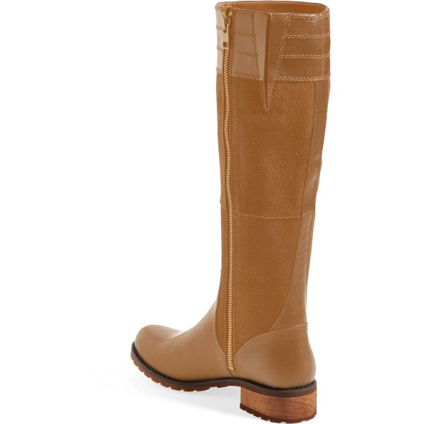 Tan Riding Boots Side Zipper Round Toe Low Heel Knee Boots image 2