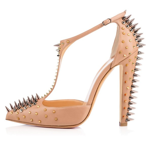 Apricot Rivets Upper T-Strap Pumps Pointy Toe Chunky Heels Sandals image 3