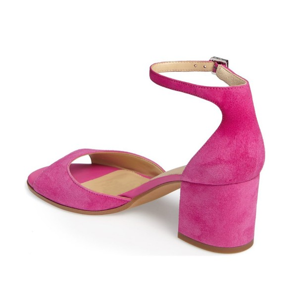 Pink Soft Suede Chunky Heels Peep Toe Ankle Strap Sandals image 2
