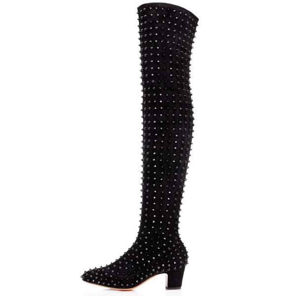 Black Chunky Heel Boots Rivets Pointy Toe Ove-the-Knee Boots image 3