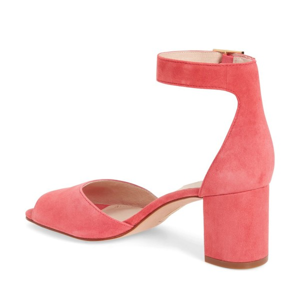 Pink Block Heel Sandals Ankle Strap Suede Sandals image 2