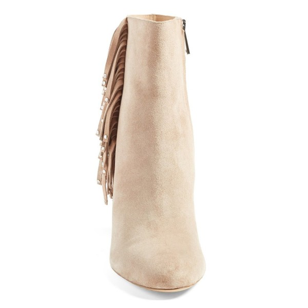 Beige Fringe Boots Chunky Heel Suede Shoes with Silver Studs image 2