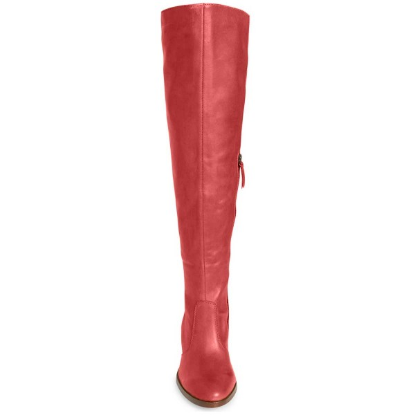 Red Knee Boots Round Toe Fashion Chunky Heel Boots by FSJ image 2