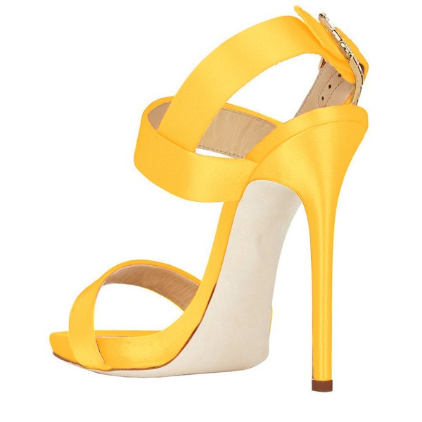 Women's Yellow Slingback Heels Satin Open Toe Stiletto Heels Sandals image 3