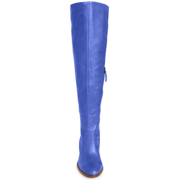 Blue Knee Boots Round Toe Fashion Chunky Heel Boots by FSJ image 2