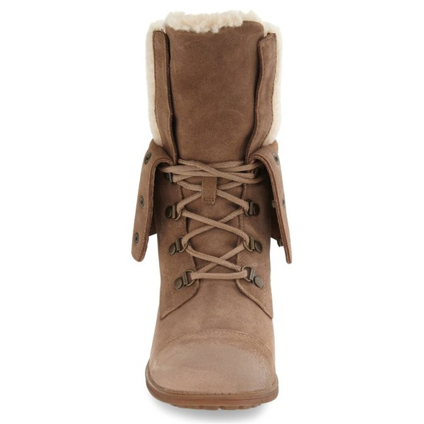Light Brown Winter Boots Fold-Over Round Toe Lace up Vintage Boots image 3