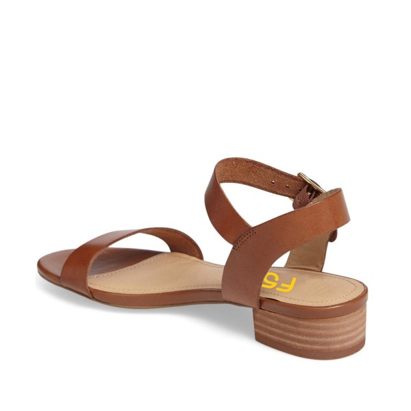 Tan Sandals Open Toe Comfortable Flats Vegan Leather Summer Sandals image 3