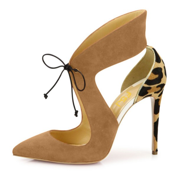Khaki Suede Lace-up Leopard-print Stiletto Heel Pumps image 2