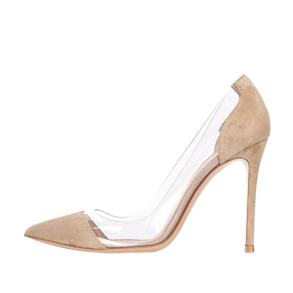 Clear Heels Beige Suede Pointy Toe Stiletto Heels Pumps image 2