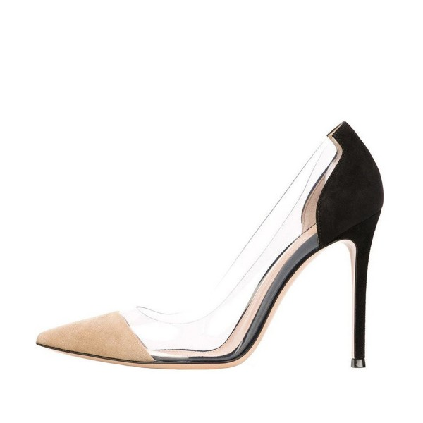 Nude and Black Stiletto Heel Pointed Toe Clear Heels Pumps image 2