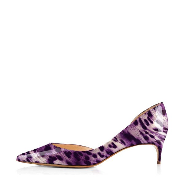 Women's Viola Purple Leopard Print Heels Kitten Heel Pumps image 2