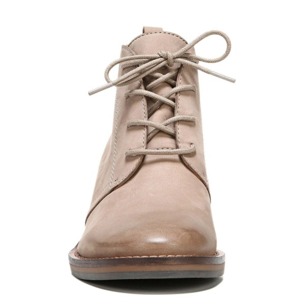 Beige Casual Boots Lace up Chunky Heels Ankle Booties for Women image 3