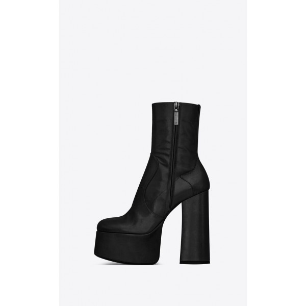 Custom Made Black Chunky Heel Platform High Heel Ankle Boots image 2