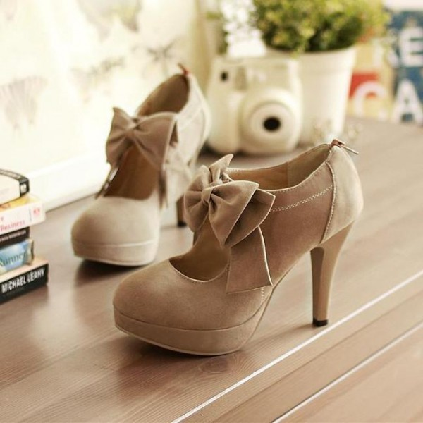 Khaki Vintage Boots Bow Platform Round Toe Ankle Booties image 1