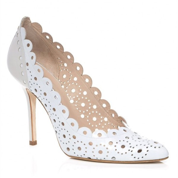 Women's White Heels Hollow out Stilettos Pointed Toe Pumps image 2