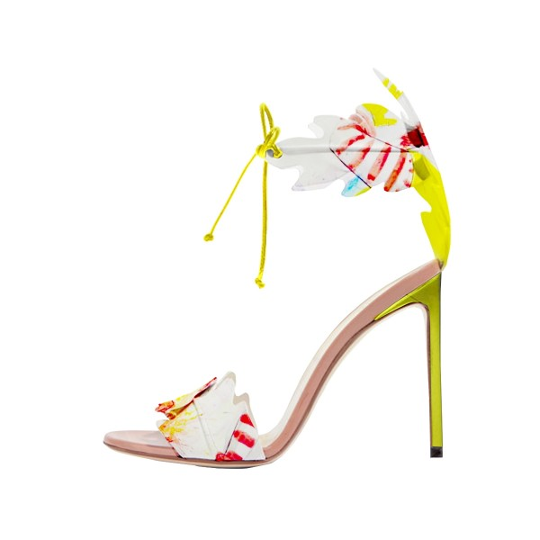 Yellow Stiletto Heels Lace up Sandals Open Toe Floral Heel Sandals image 4