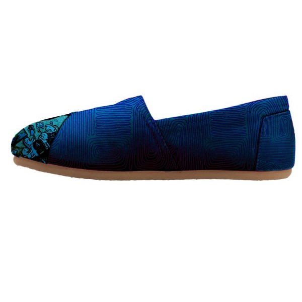 Women's Blue Cartoon Printed Slip-On Comfortable Flats image 1