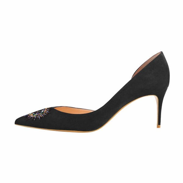 Women's Lelia Black Embroidery Pointy Toe Stiletto Heels Suede D'orsay Pumps image 2