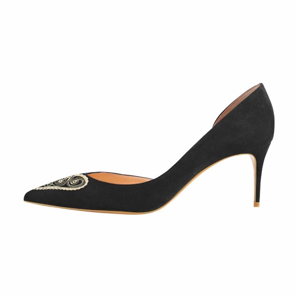 Women's Lelia Black Heart Shape Pattern Print Pointy Toe Stiletto Heels Suede D'orsay Pumps image 2