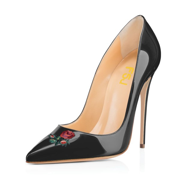 Women's Black Pointy Toe Rose Floral Office Heels Stiletto Heels Pumps image 1