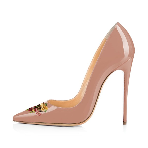 Women's Nude Floral Office Heels Pointed Toe Stiletto Heels Pumps image 2