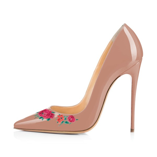 Women's Nude Floral Rose Office Heels Pointy Toe Stiletto Heels Pumps image 3