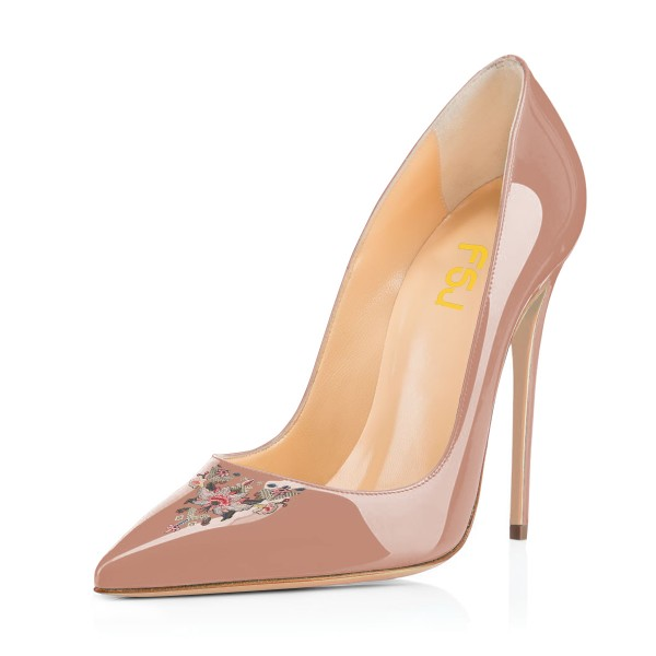 Women's Nude Pointy Toe Floral Office Heels Stiletto Heels Pumps image 1
