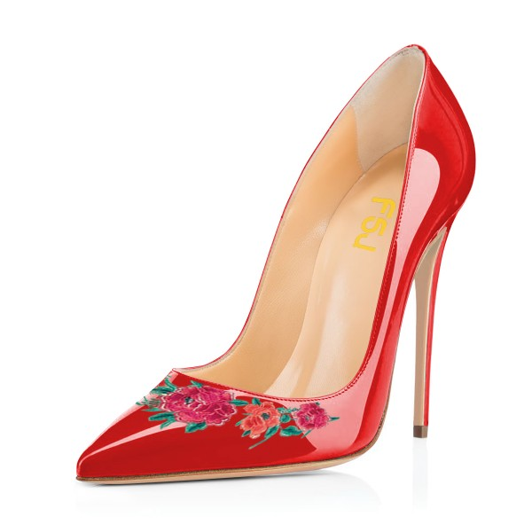 Women's Red Floral Rose Office Heels Pointy Toe Stiletto Heels Pumps image 1