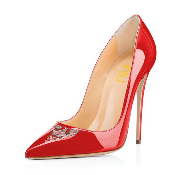 Women's Red Pointy Toe Floral Office Heels Stiletto Heels Pumps image 1