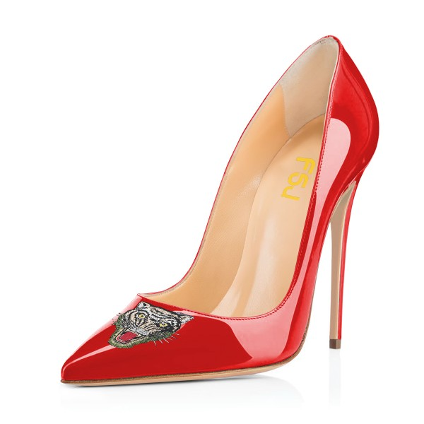 Women's Red Pointy Toe Tiger Floral Office Heels Stiletto Heels Pumps image 1