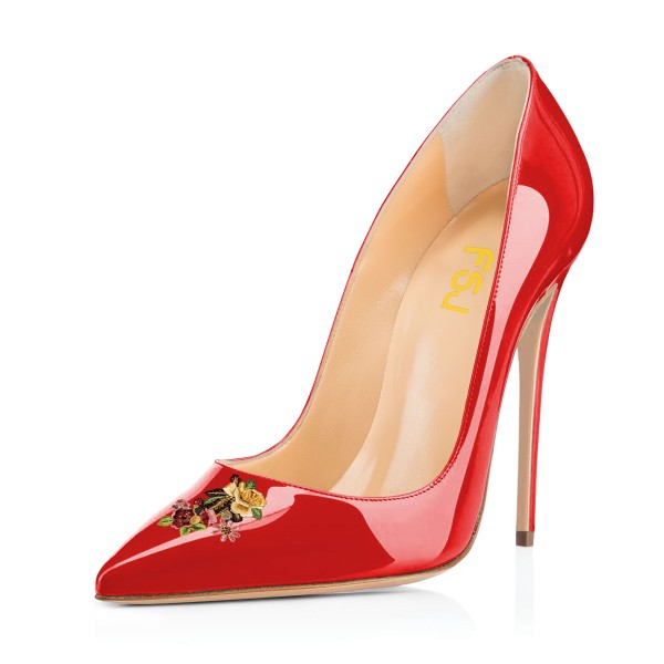 Women's Red Floral Office Heels Pointed Toe Stiletto Heels Pumps image 1