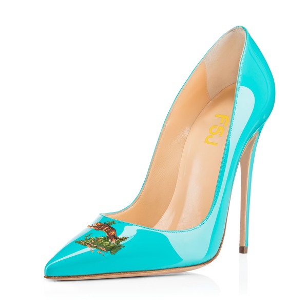 Women's Turquoise Leopard In The Woods Floral Office Heels Pointy Toe Stiletto Heels Pumps image 1